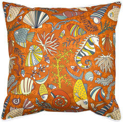Sea Life Rust Pillow