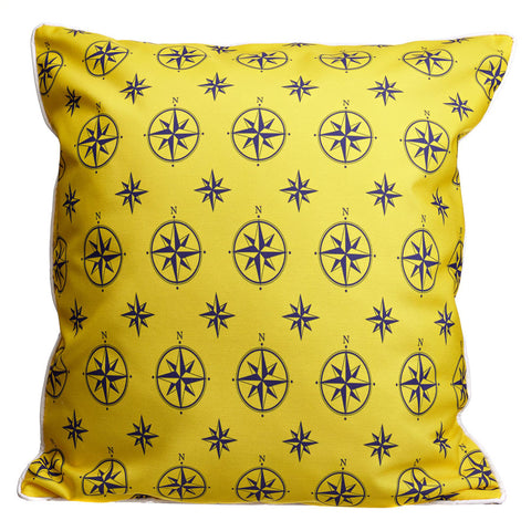 Duck Key - Compass Rose Yellow & Chevron Pillow