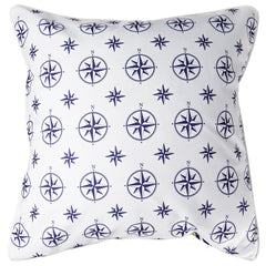 Duck Key - Compass Rose White & Chevron Pillow