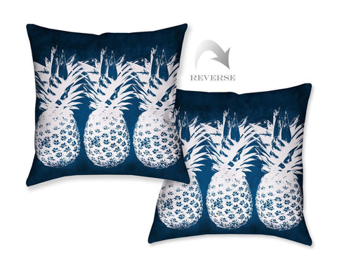 Indigo Pineapples Outdoor Decorative Pillow