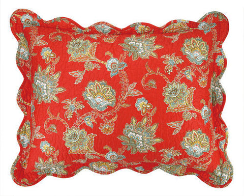 Jacobean Red Quilt Sham