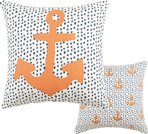 Anchor and Dots Canvas Pillow