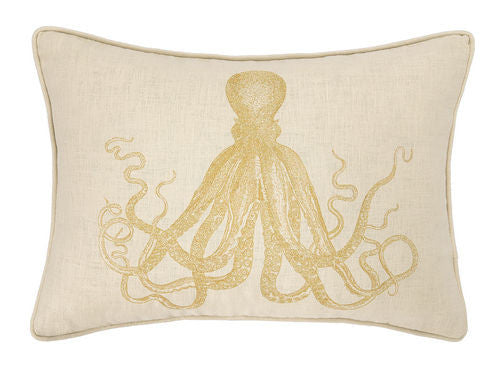 Octopus in Gold Embroidered Pillow