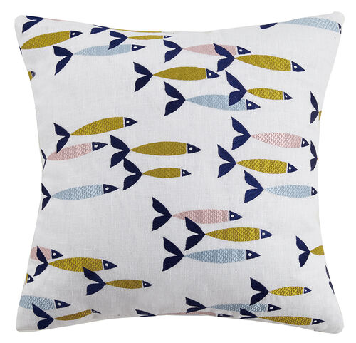 Swim School Embroidered Pillow