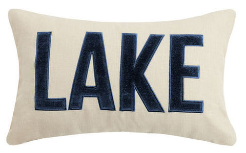 Lake Applique Embroidered Pillow