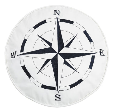 Nautical Compass Embroidered Pillow