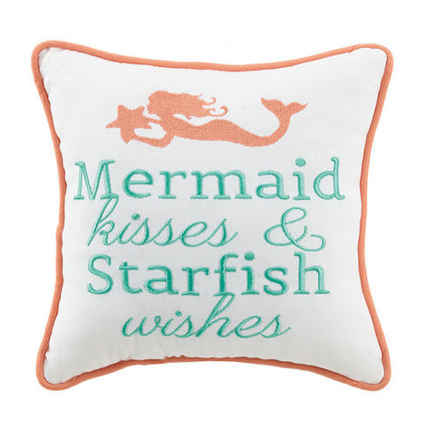Mermaid Kisses & Starfish Wish Embroidered Pillow