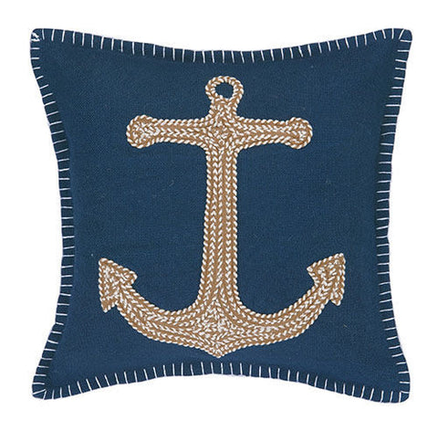 Anchor Embroidered Pillow