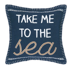Take Me To The Sea Embroidered Pillow