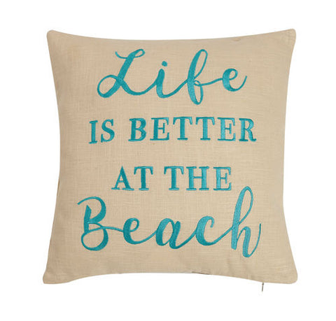 Life Is Better At The Beach Embroidered Pillow