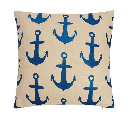 Blue Anchors Pattern Embroidered Pillow