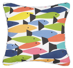 Fish School Printed Pillow