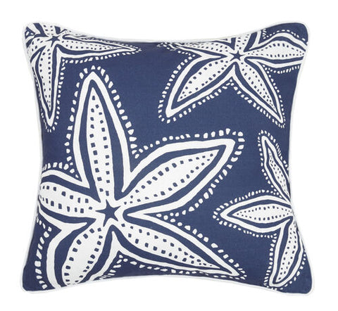 Navy Starfish Printed Pillow