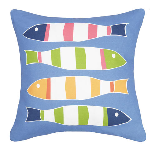 Blue Picket Fish Printed Pillow