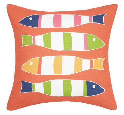 Orange Picket Fish Printed Pillow