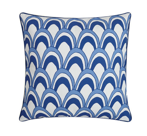 Scales with Navy Piping Printed Pillow