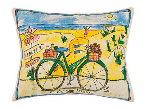 Beach Day Bike Printed Pillow
