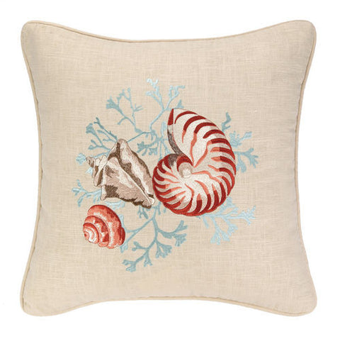 Sea Life Nautilus Embroidered Pillow