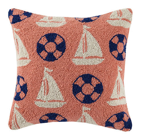 Sailboat Preserver Repeat Hook Pillow