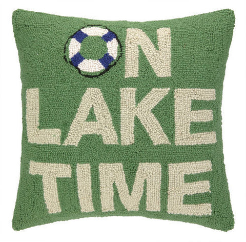 On Lake Time Hook Pillow