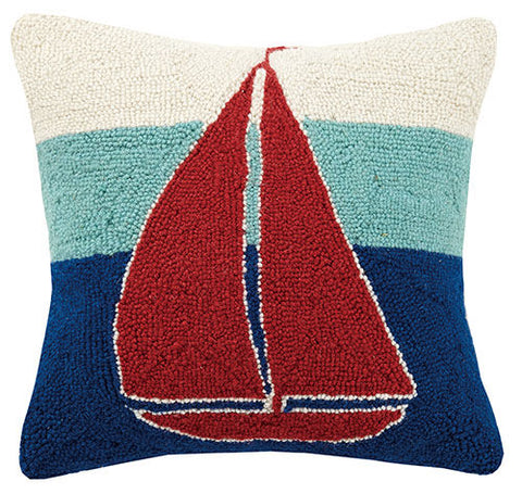 Triple Stripe Sailboat Hook Pillow