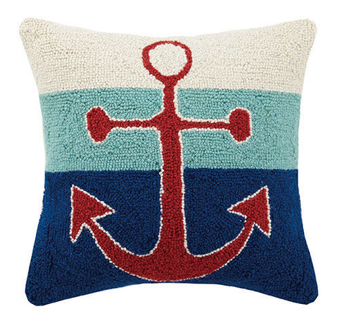 Triple Stripe Anchor Hook Pillow
