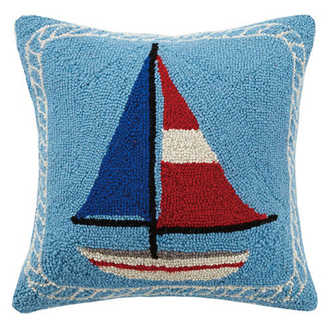 Americana Sailboat Hook Pillow
