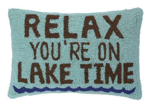 Relax Lake Time Hook Pillow