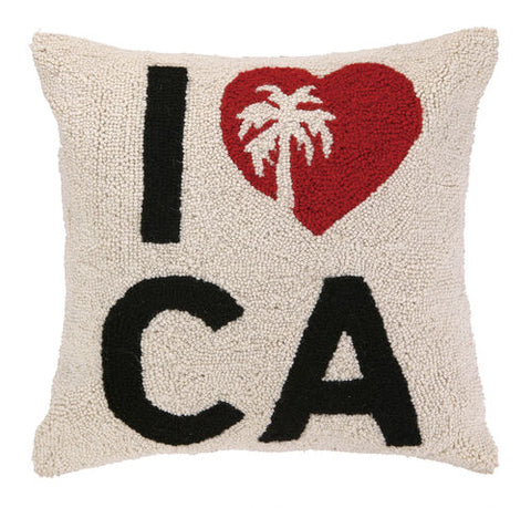 I Heart CA with Palm Tree Hook Pillow