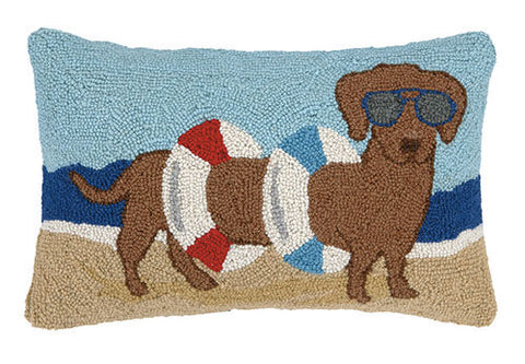 Dachshund in Tube Beach Hook Pillow