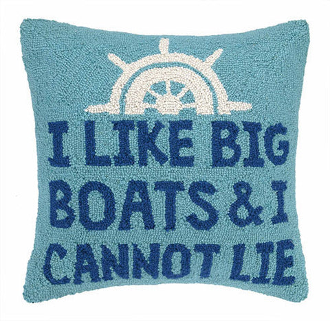 I Like Big Boats & I Cannot Lie Hook Pillow