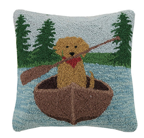 Golden Lab Canoeing Hook Pillow