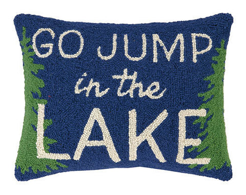 Go Jump In The Lake Tree Border Hook Pillow