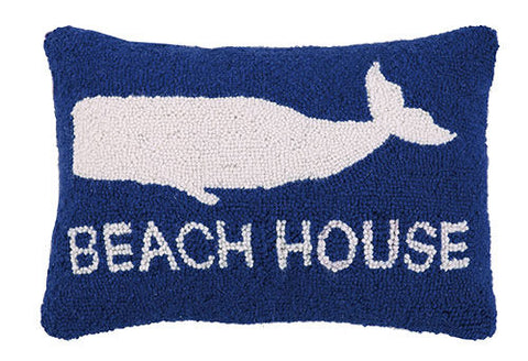 Beach House Whale Hook Pillow