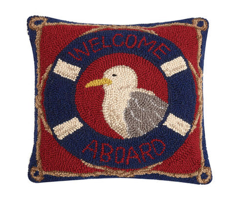 Welcome Aboard Seagull Hook Pillow