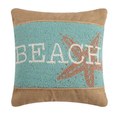Beach Burlap Hook Pillow