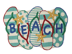 Beach Flip Flops Shaped Hook Rug