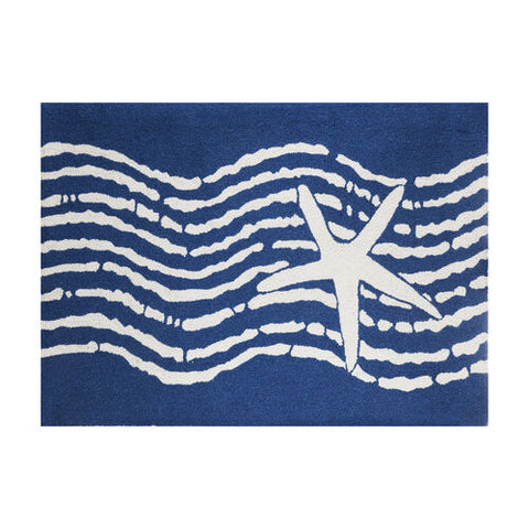 Navy Star Hook Rug