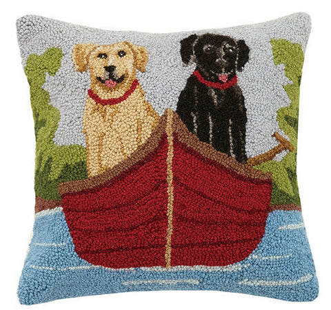 Lab Dogs on Canoe Hook Pillow