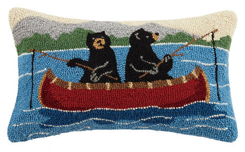 Bears on Canoe Hook Pillow