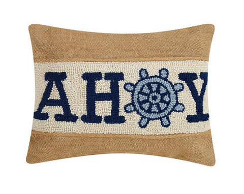 Ahoy Burlap Hook Pillow