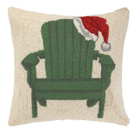 Green Adirondack Chair with Santa Hat Hook Pillow