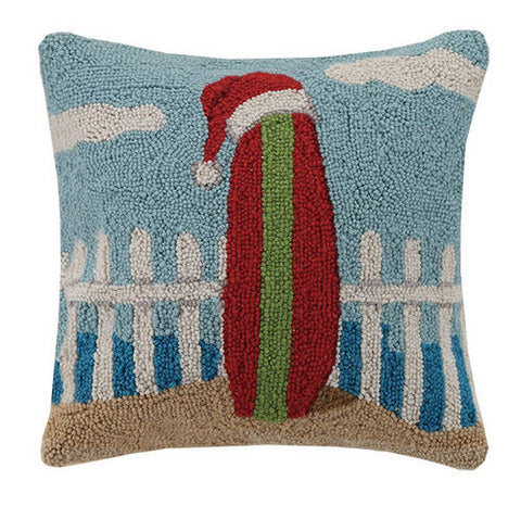 Surfboard with Christmas Hat Hook Pillow