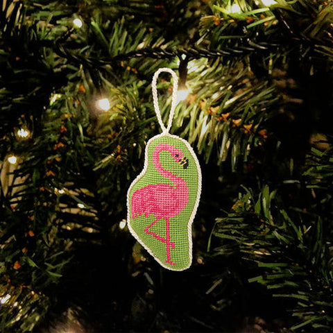 Flamingo Needlepoint Ornament