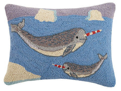 Holiday Narwhal Hook Pillow