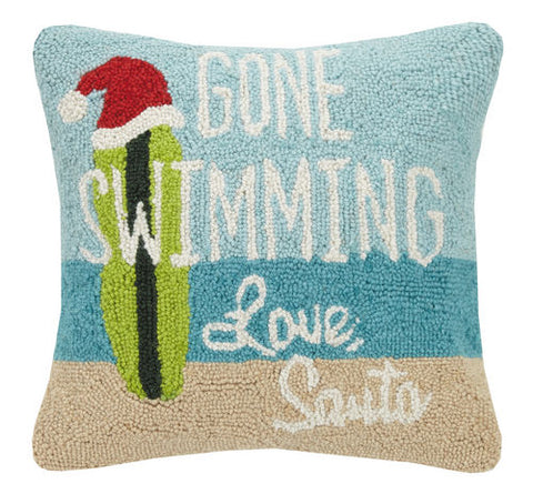 Gone Swimming Santa Hook Pillow