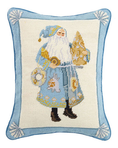 Coastal Christmas Santa Needlepoint Pillow