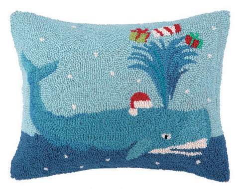 Holiday Whale Hook Pillow