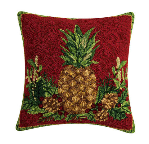 Welcome Wishes Pineapples Hook Pillow
