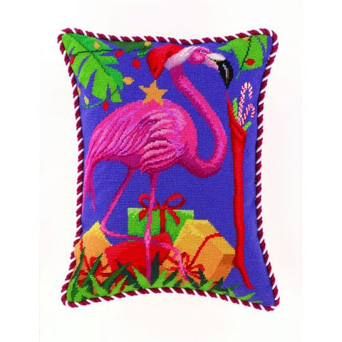 Holiday Flamingo Needlepoint Pillow